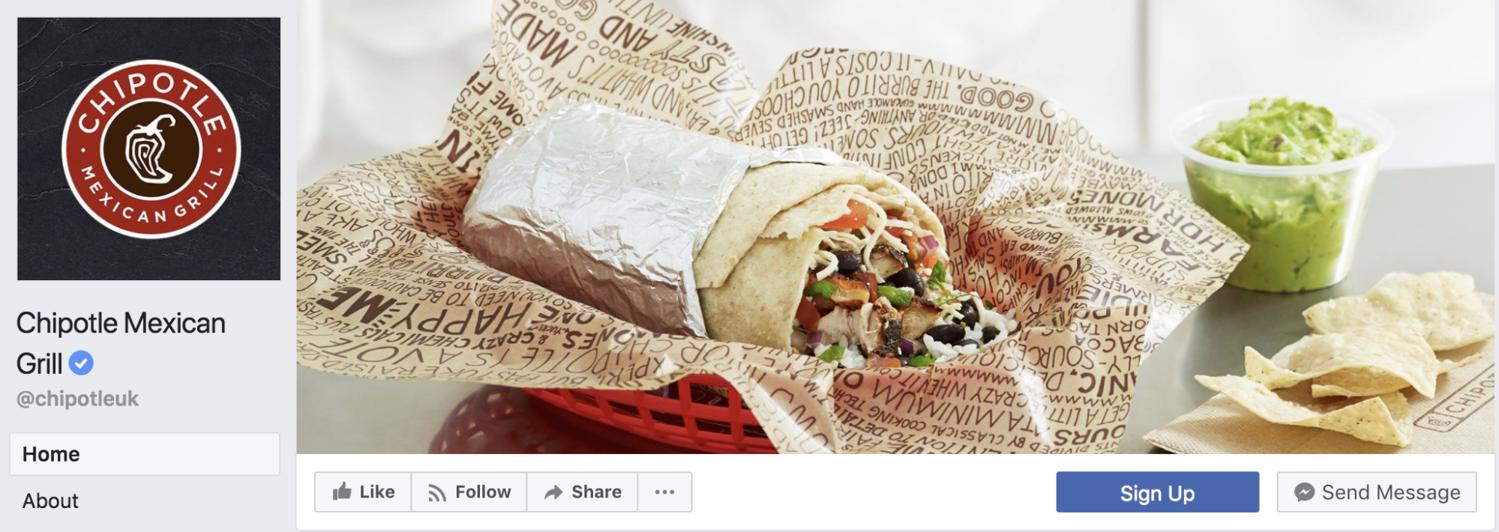 Example of Facebook page management: Chipotle