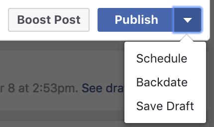 Facebook Schedule feature