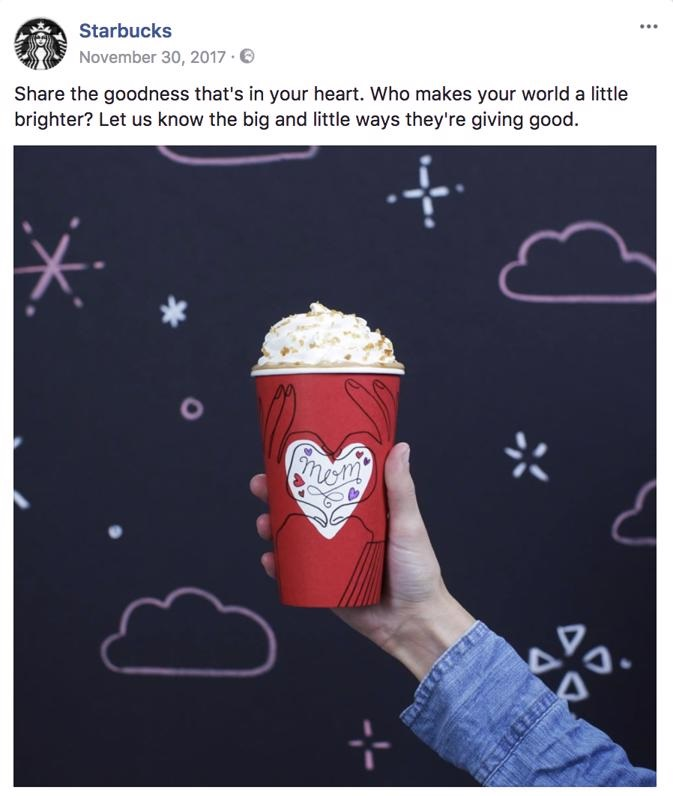 Example of Facebook page management: Starbucks